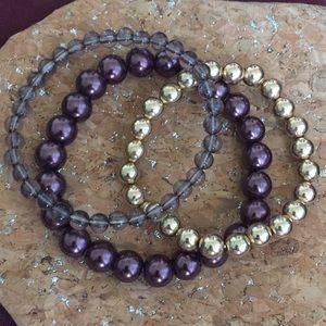 Jewelry - Set of 3 Beaded Bracelets Gold, Purple, Clear Grey
